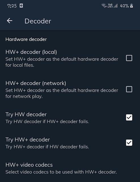 Decoder settings MX Player