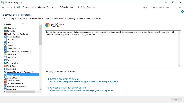 how to make a program default on windows 10