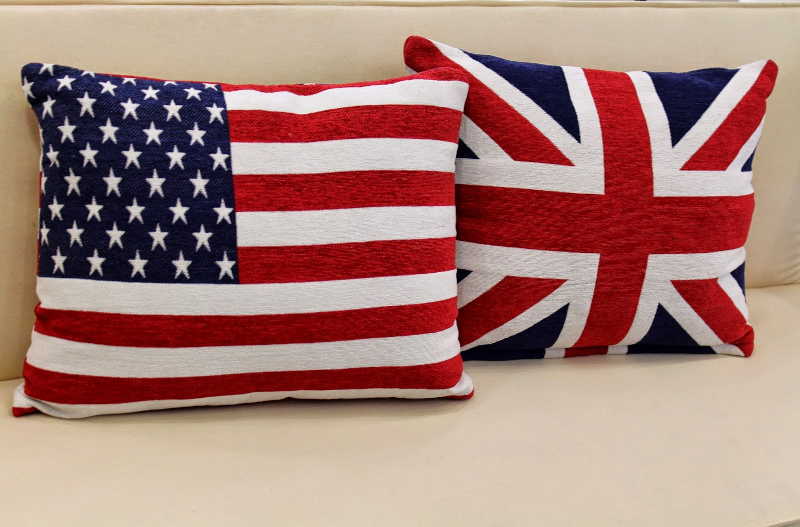 american and british flag pillows