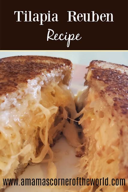pinnable image for a tilapia reuben recipe