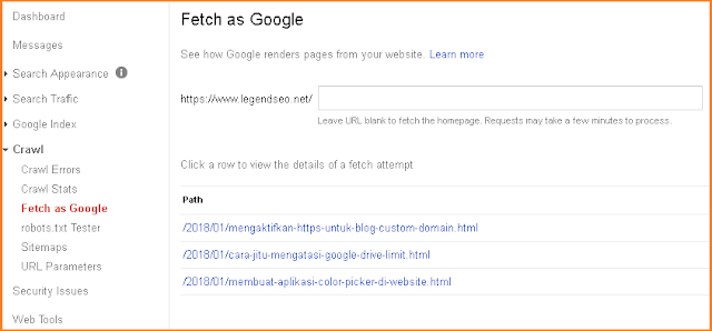 Fetch as Google sama  pentingnya dikarenan lebih mempercepat status Index Artikel yang sudah dibuat