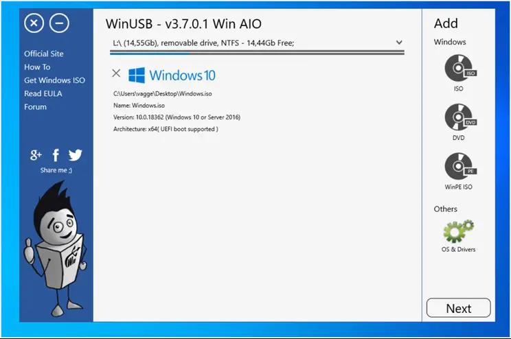 WinUSB :  Φτιάξτε εκκινήσιμα στικάκια USB με εικόνες των  Windows