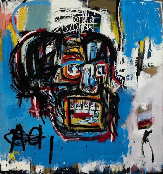 ジャン=ミシェル・バスキアの1982年の顔が一つだけ描かれた無題の絵