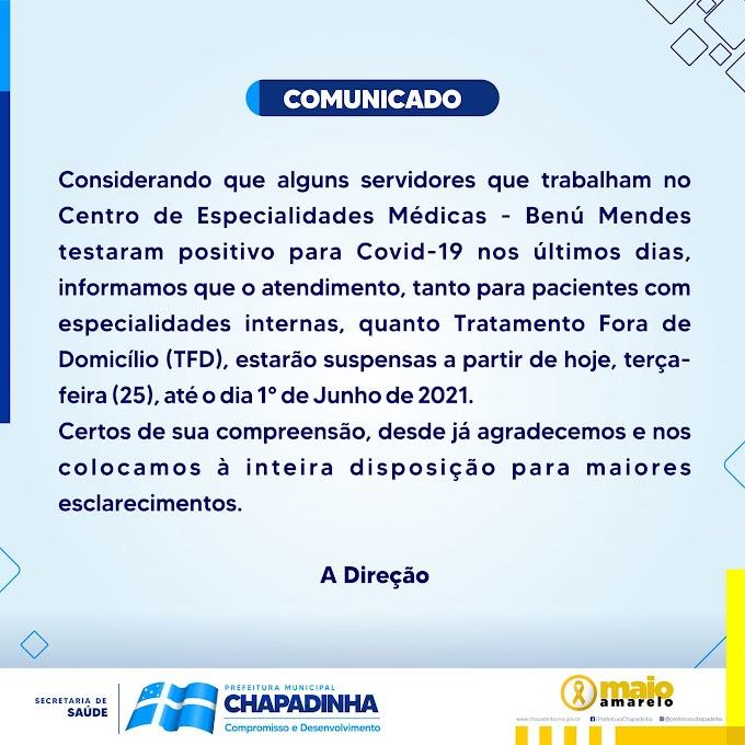 Servidores do Benú Mendes testam positivo para Covid-19; atividades suspensas na unidade