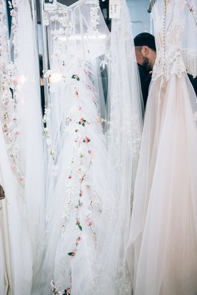glowing floral crowns Reem Acra Bridal Fall 2015
