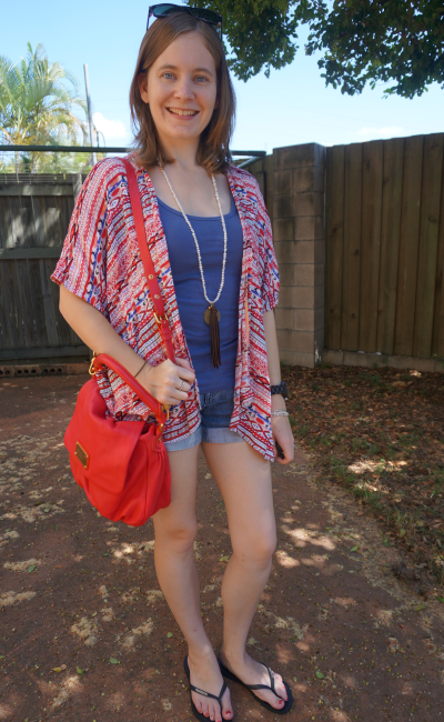 Choies red vintage pattern kimono blue tank denim shorts red bag