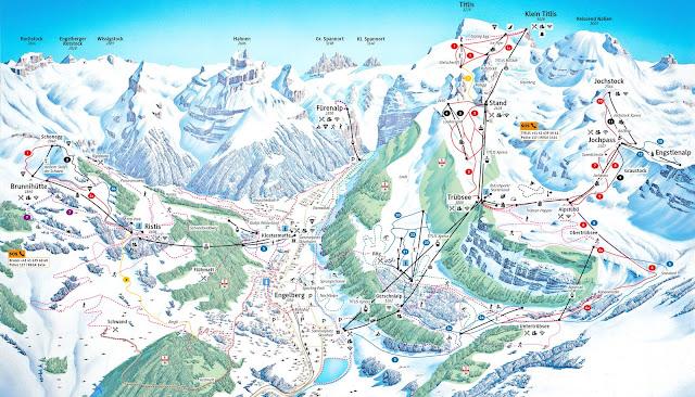 Mapa do Monte Titlis no inverno, Engelberg, Suíça