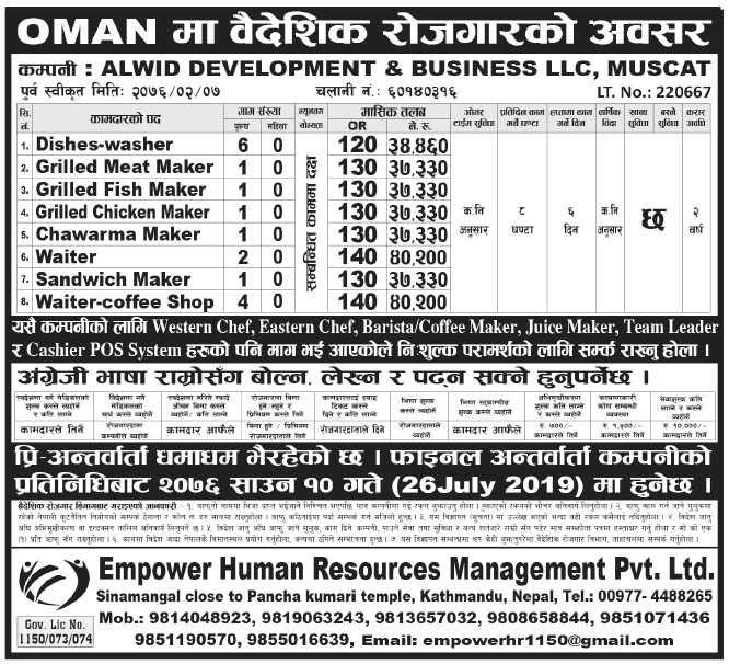 Jobs in Oman for Nepali, Salary Rs 40,200