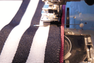 sew close to edge of ribbon
