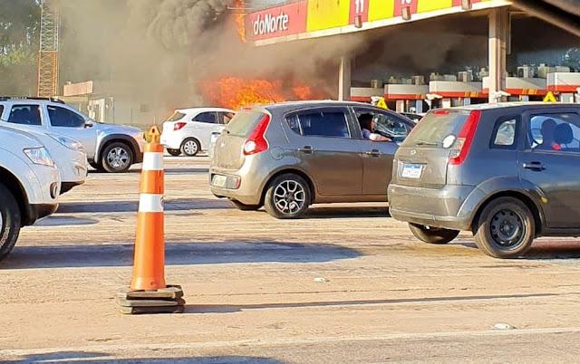 Caminhoneiro morre carbonizado em acidente ocorrido na praça de pedágio de São Luiz do Purunã