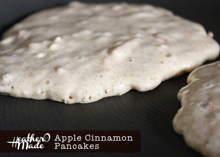 apple cinnamon pancakes. look for tiny holes & a dry edge around your pancakes to know when they're ready to flip.. heatheromade. recipe. thanksgiving morning