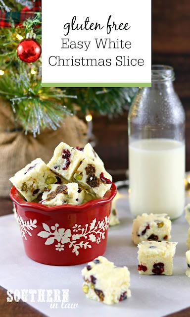 Easy White Christmas Slice Recipe - gluten free, quick, christmas recipe, no bake recipe