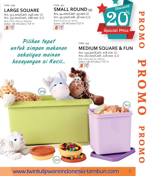 Promo Diskon Tulipware Maret 2016, Large Square, Small Round, Medium Square Fun