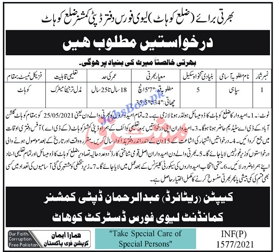 levies-force-kohat-sipahi-jobs-2021-advertisement