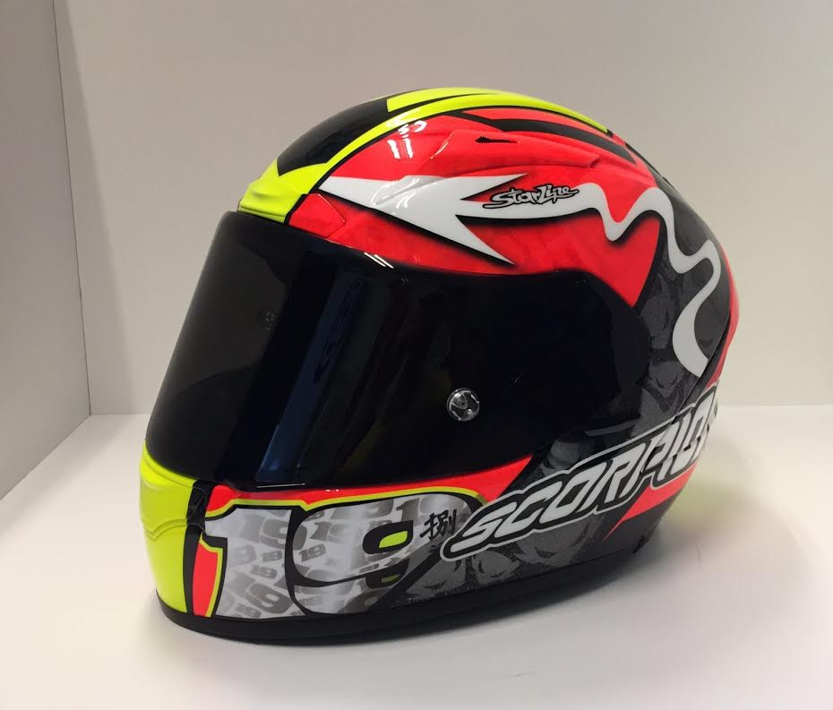 racing helmets garage scorpion exo 2000 air evo a bautista barcellona 2016 by starline. Black Bedroom Furniture Sets. Home Design Ideas