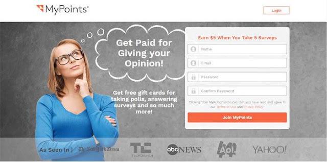 Kiếm tiền khảo sát trên kênh MYPOINTS