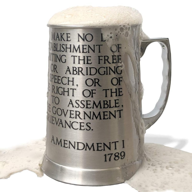 13 oz Insulated Beer Stein, First Amendment Engraved