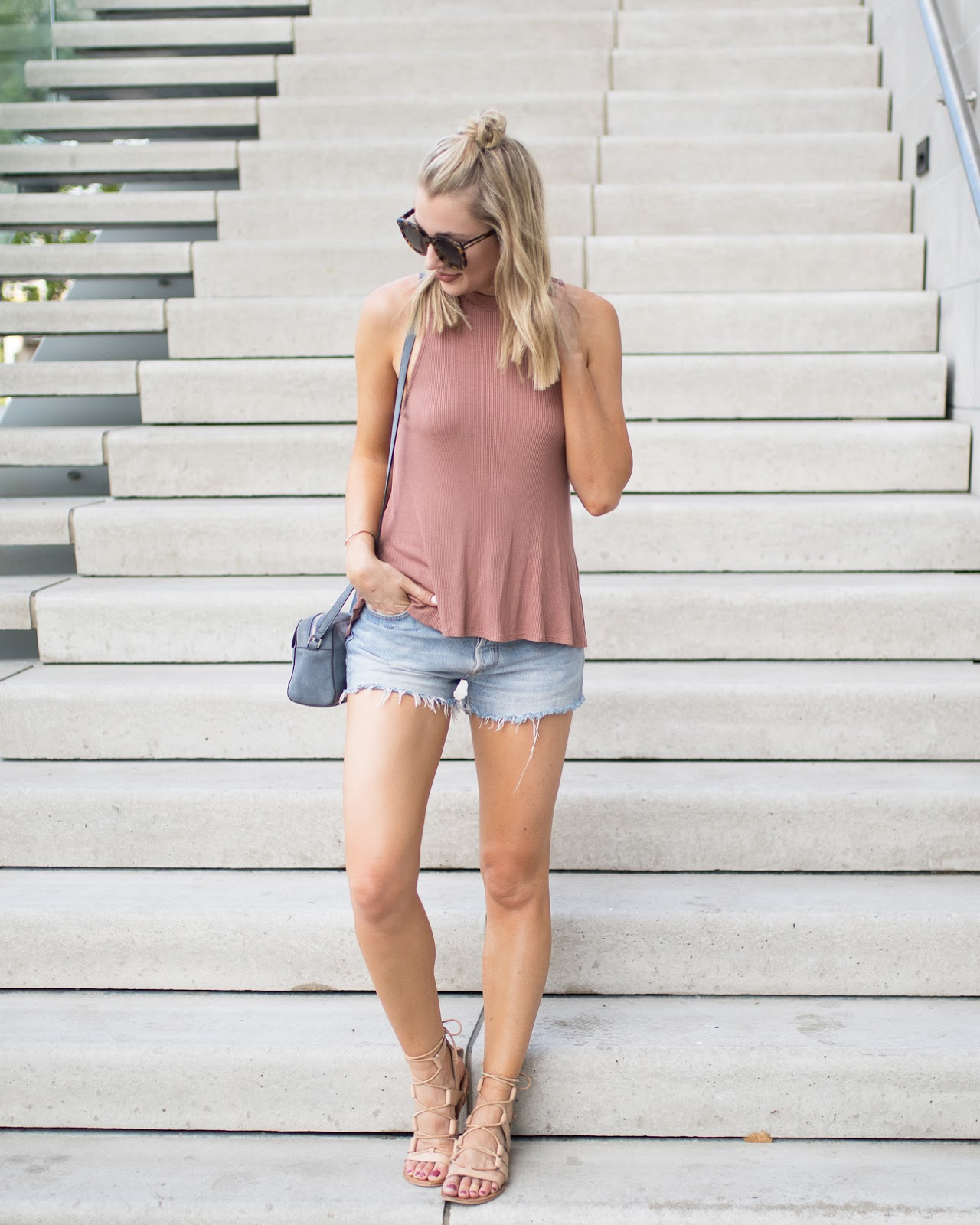 Tank top + cutoffs