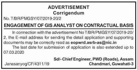 PWD (R) Assam recruitment 2020: Apply for 03 GIS Analyst