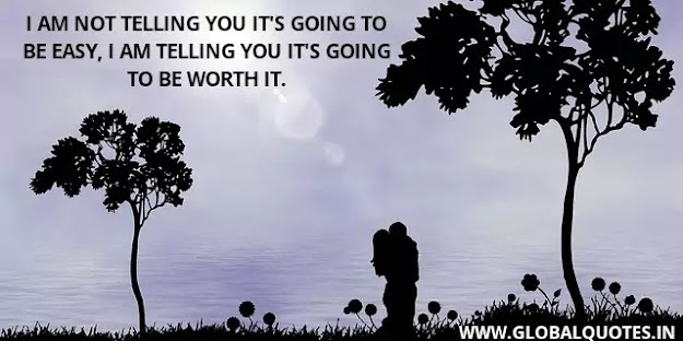 I am not telling you it's going to be easy, I am telling you it's going to be worth it.