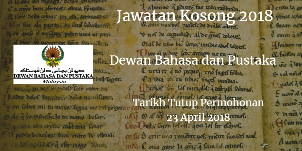 Jawatan Kosong DBP 23 April 2018