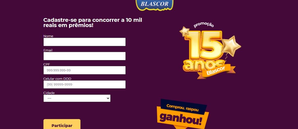 Promoção Aniversário 15 Anos Blascor Tintas 2021 - Comprou, Raspou, Ganhou