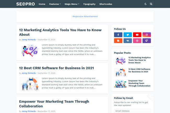 SeoPro Premium Responsive Seo Ready Blogger Template Free Download - SeoPro v1.3.0 Blogger Template