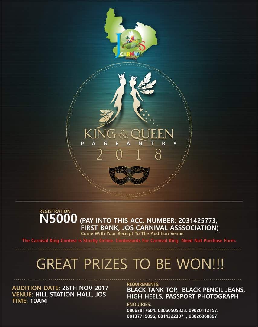 king queen jos carnival beauty pageant 2017 1st edition