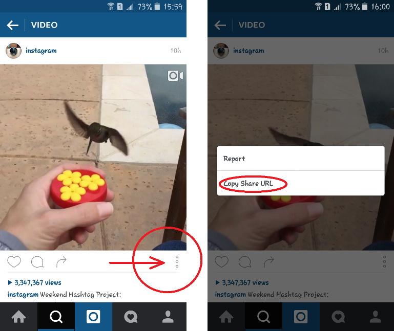 Copy share URL Video Instagram