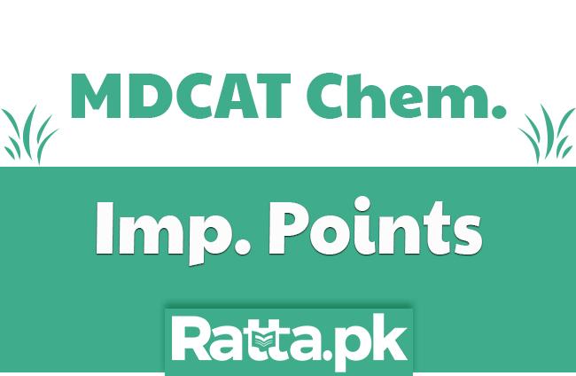 MDCAT Chemistry Important Points to prepare MCQs pdf