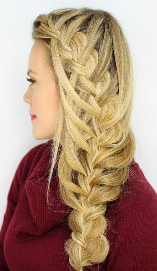 Cascading Waterfall Side Braid hairstyle