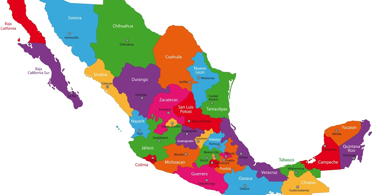 Icono De Color Ubicacion Carretera Amarillo Rojo Azul Png: Banco De Imágenes: Mapa De México Y Sus Estados