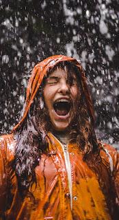 Rain at Girl Mobile HD Wallpaper