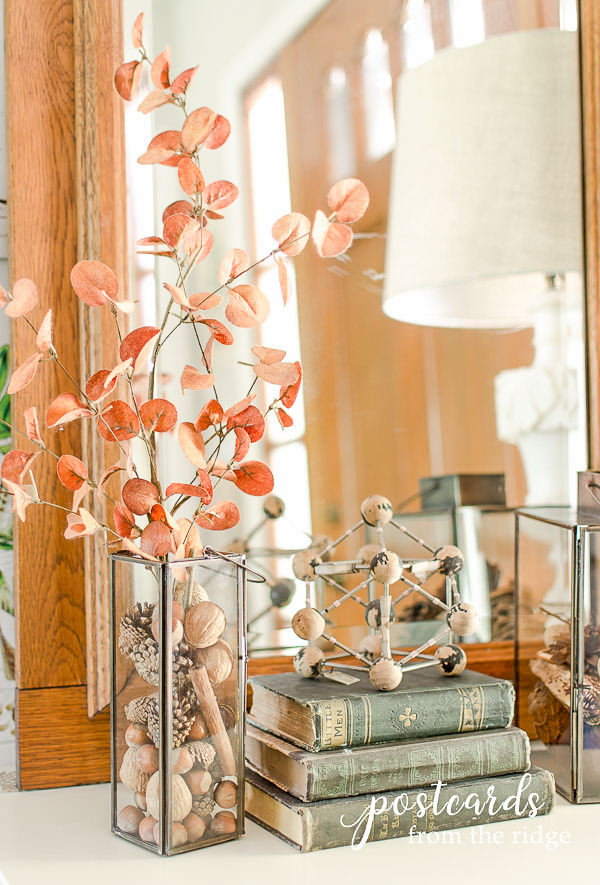old books and a vase with nuts and pine cones for fall decorations