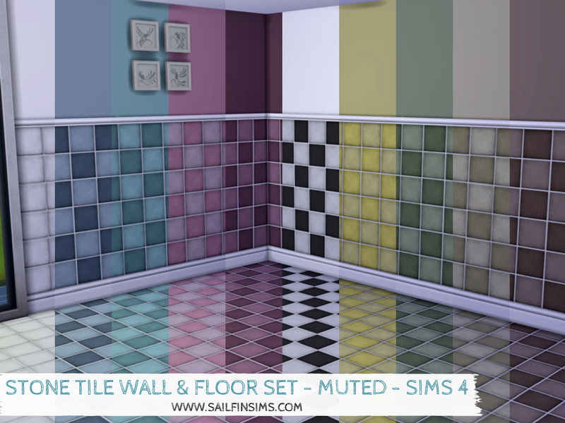 Dragon Black Sims: Stone Tile Wall & Floor Set - Muted