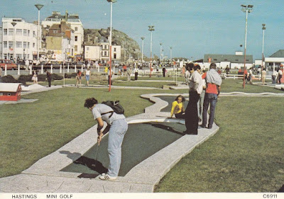 A postally unused Hastings Mini Golf postcard C6911 by Judges Limited Hastings. The player is on hole 12