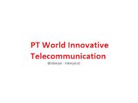 Lowongan Kerja PT World Innovative Telecommunication Terbaru