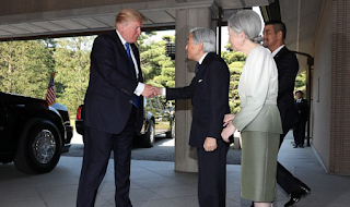 'Not his style – never has been': Trump shakes Japanese emperor's hand but doesn't repeat groveler-in-chief Obama's deep bow