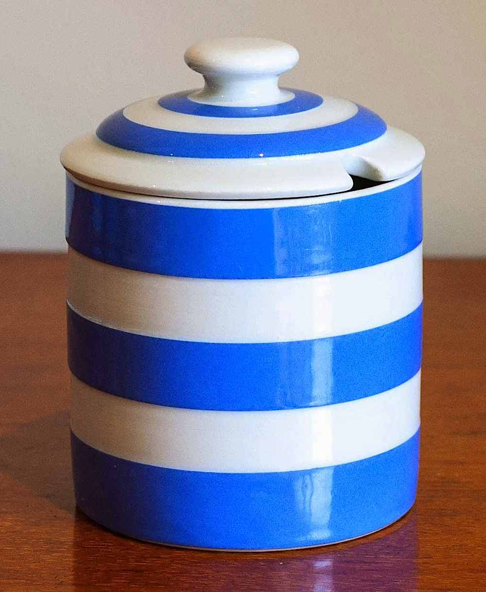 a Cornishware jam jar 1940? blue and white stripes in a color photograph