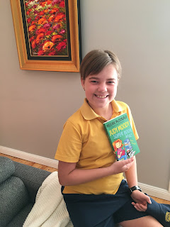 Sophie Harris with her copy of Judy Moody, Super Book Whiz by Megan McDonald courtesy of Walker Books Australia, Carpe Librum.
