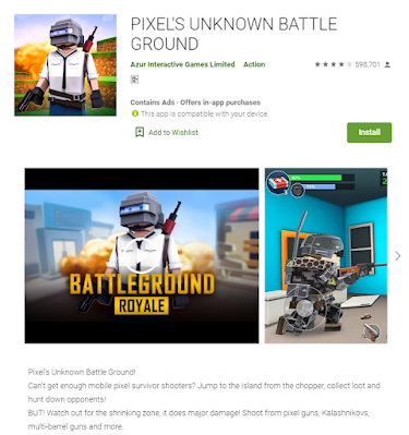 This the image of Pixel's Unknown Battle Ground took from the play store web version
