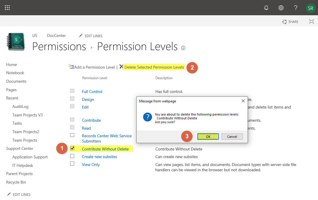 sharepoint online delete permission level