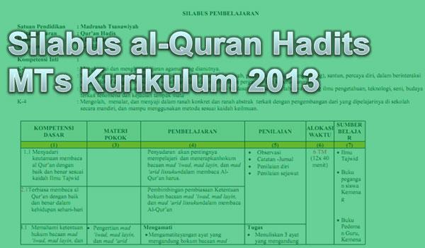 Silabus Al-Quran Hadits MTs Kelas VII dan VIII Kurikulum 2013 Semester 1 dan 2