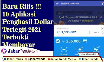 Aplikasi Penghasil Dollar Terlegit 2021