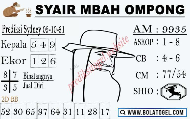 Syair Mbah Ompong SDY Selasa 05-Okt-2021