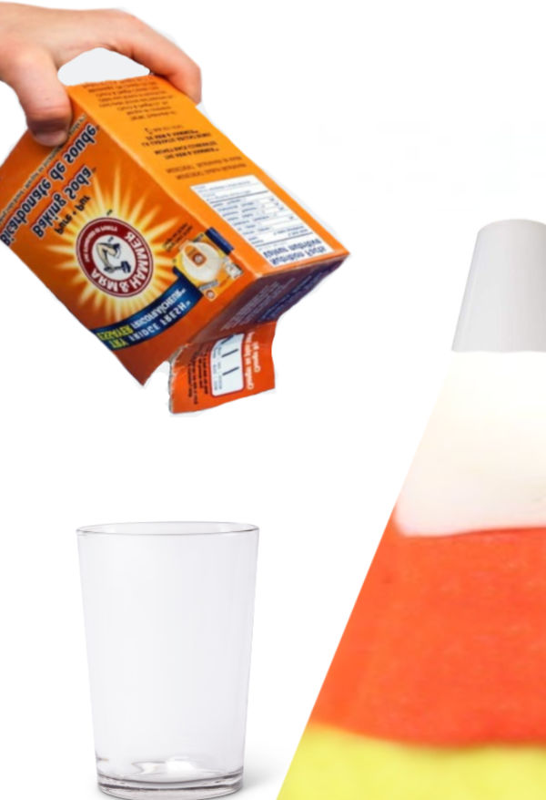 Can you make a candy corn volcano erupt? This Halloween science experiment challenges kids to try! #candycorn #candycorncrafts #candycornrecipe #candycornvolcano #candycornexperimentforkids #candycornexperiment #candycornactivities #candycorncraftspreschool #candycornscienceexperiment #growingajeweledrose #activitiesforkids #fallactivities