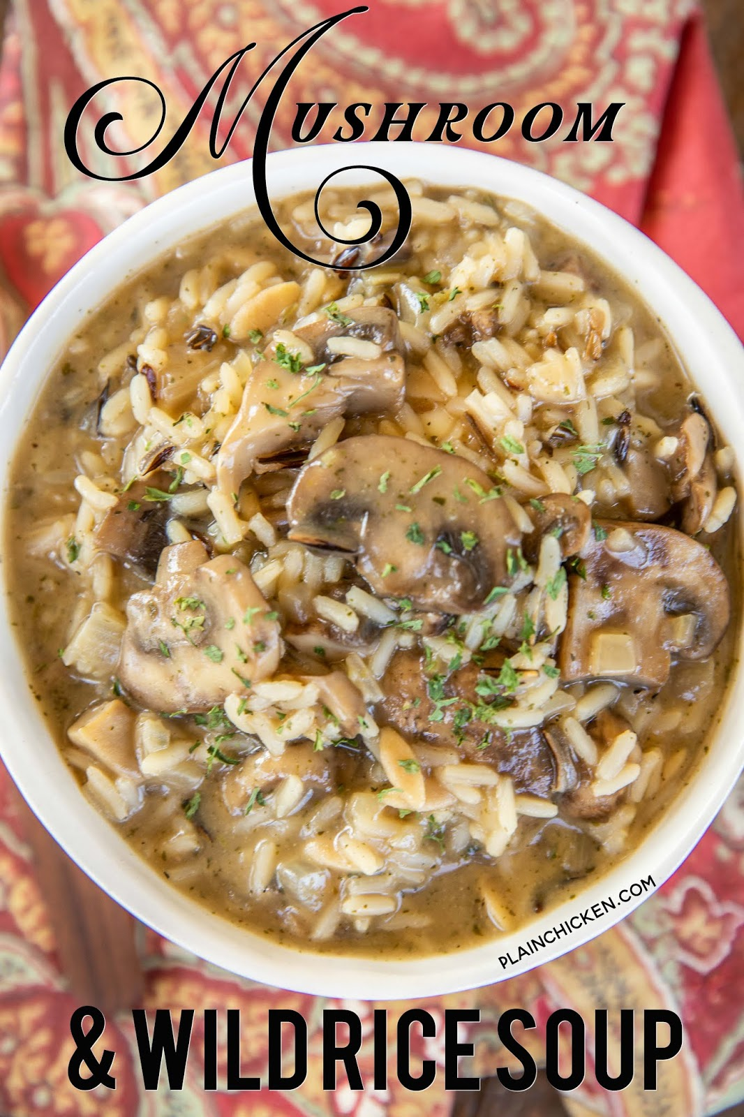 bowl of mushroom and wild rice soup