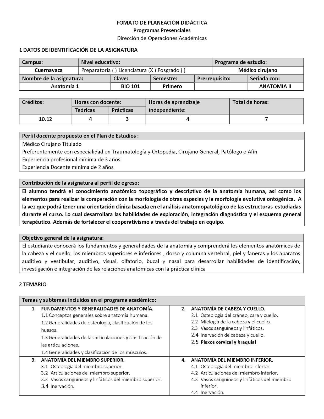 PLANEACIÓN DIDÁCTICA 2018-2 ANATOMIA I | CURSO ANATOMÍA ULA