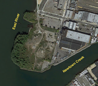 2014 color aerial image of abandoned tip of Hunter's Point
