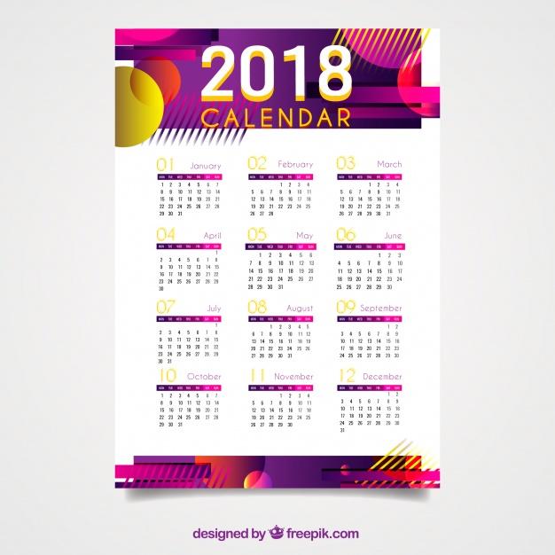 calendarios 2018 gratis de pared con formas abstractas
